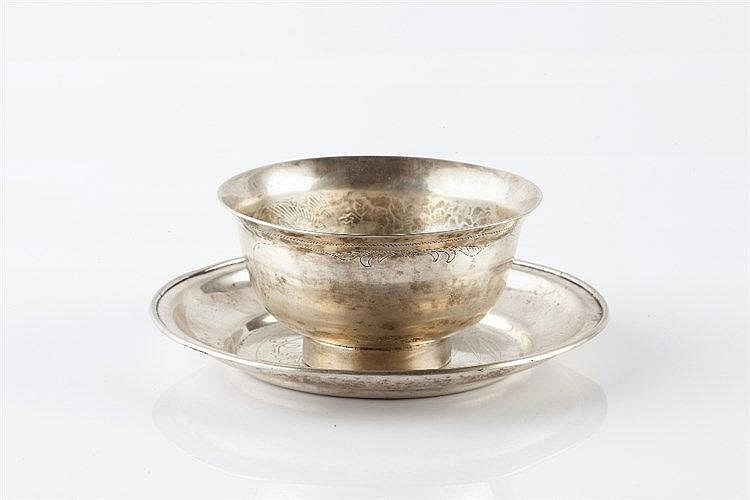A Chinese silver cup and saucer late 19th Century engraved with b