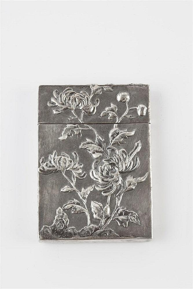 A Chinese silver rectangular visiting card case late 19th Century