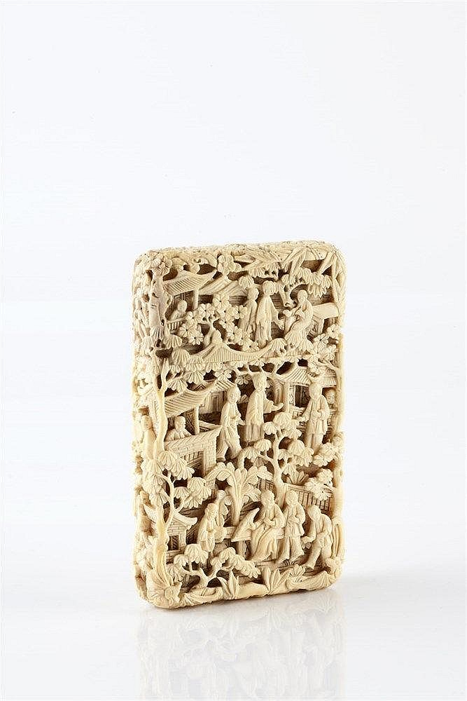 A Chinese Canton carved ivory visiting card case 19th Century with all