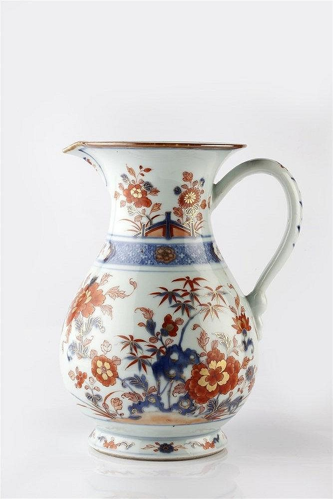 A Chinese export porcelain 'Imari' large ale or cider jug the shape af