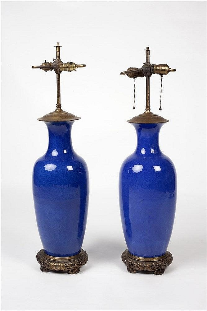 A pair of Chinese blue ground vases 19th Century converted and mounted
