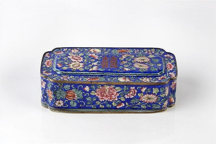 A Chinese Canton enamel pen box late 19th Century the blue ground