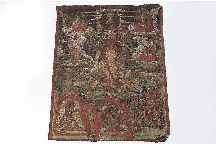 A large Tibetan Thanka depicting a Buddha surrounded by deities, pigme
