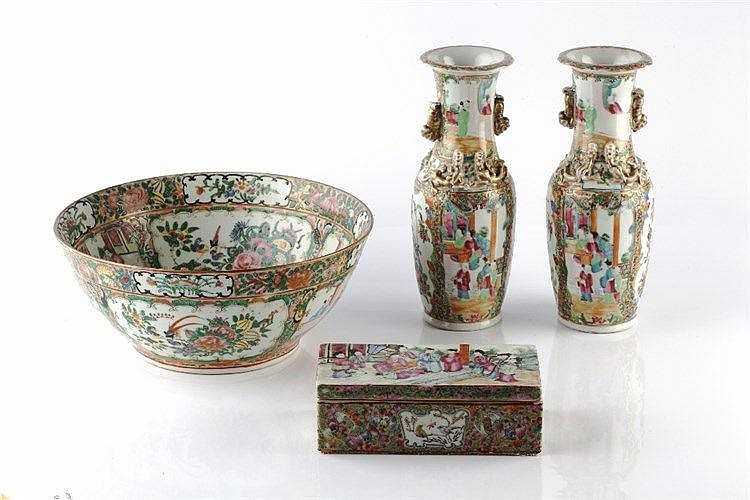 A Chinese Canton rectangular pen box 19th Century decorated in enamels