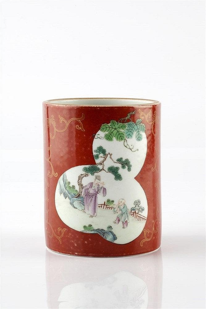 A Chinese porcelain famille rose coral ground brush pot (bidong) 19th Centu