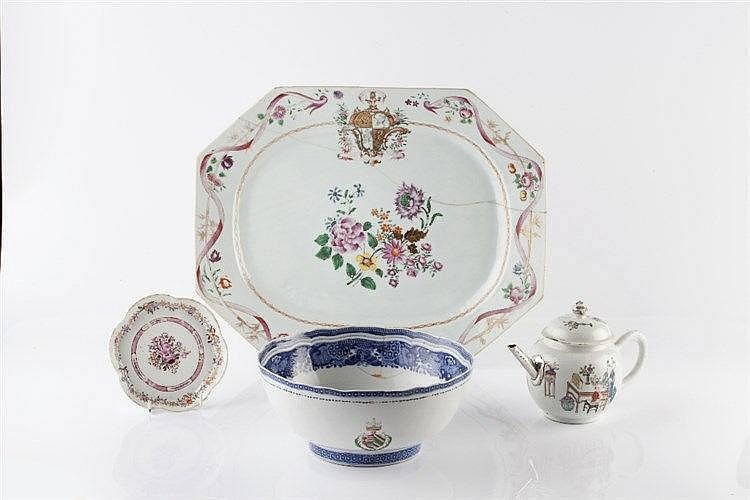 A Chinese famille rose armorial charger 18th Century of octagonal form