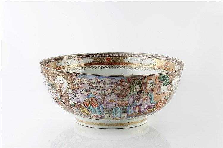 A large Chinese Mandarin punch bowl Qianlong (1736-1795) painted