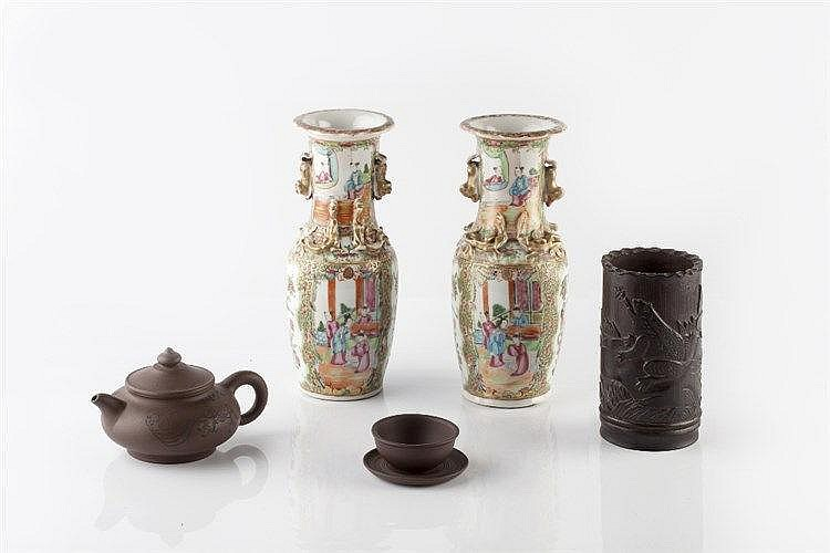 A pair of Chinese Canton vases 19th Century 25cm, an Yixing teapot, a simil