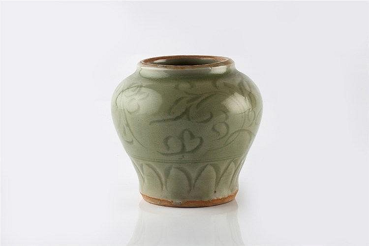 A Chinese Chekiang celadon jarlet Ming dynasty decorated floral s