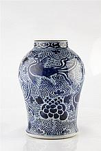 A Chinese blue and white jar 18th/19th Century of baluster form decora
