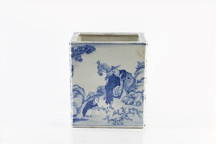 A Chinese blue and white porcelain square bodied vase/brush pot mid 19