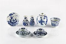 A group of Chinese blue and white porcelain 18th/19th Century to inclu