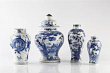 A Chinese blue and white baluster vase and cover 19th Century figures
