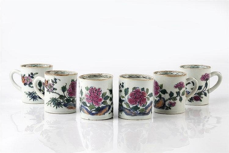 A set of six Chinese famille rose mugs 18th Century decorated in ename