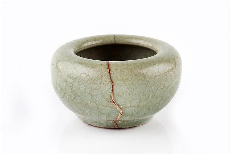 A Chinese celadon bowl shaped water pot Song period lacquer fille