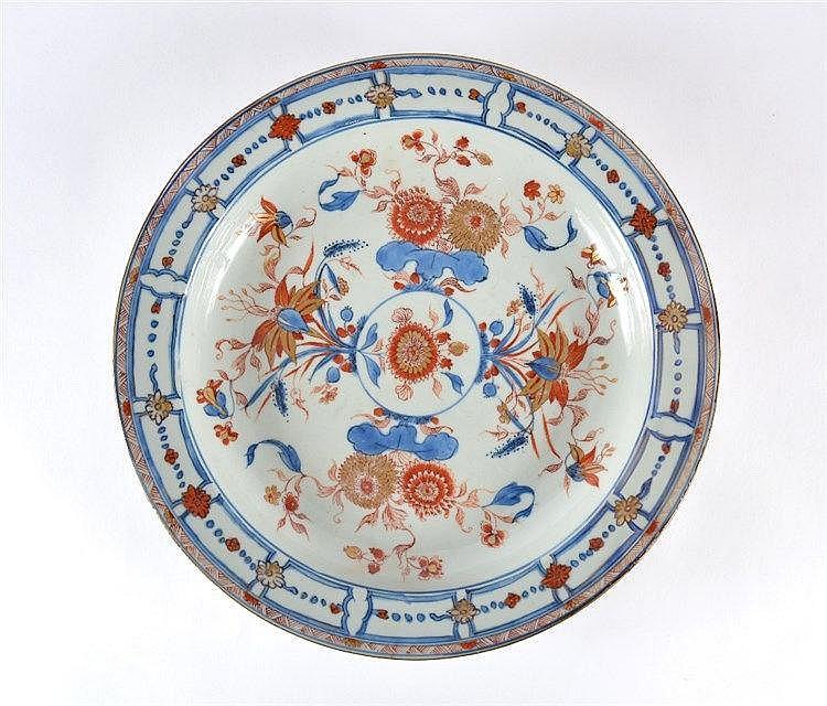 A Chinese 'Imari' circular shallow dish Qianlong (1736-1795) havi