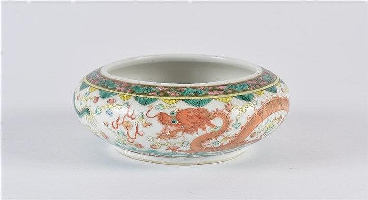 A Chinese porcelain brush washer (bidong) Guangxu decorated in en