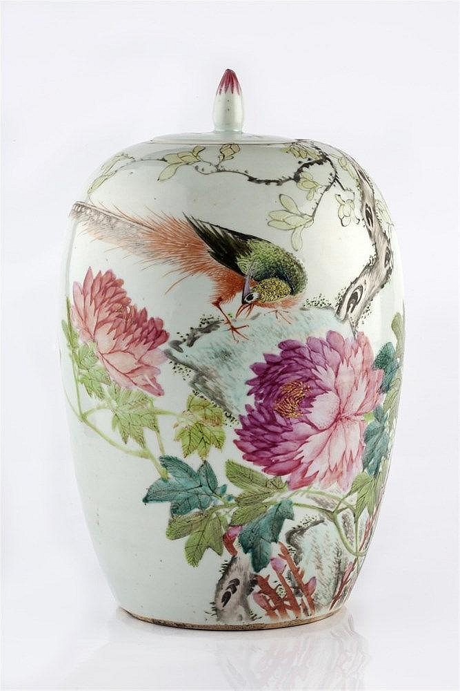 A Chinese ovoid vase and cover late 19th Century painted with peo