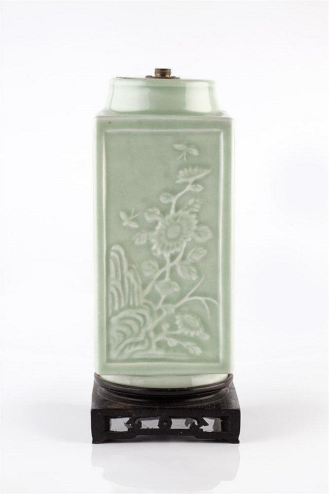 A Chinese celadon square bodied vase late 19th Century the four p