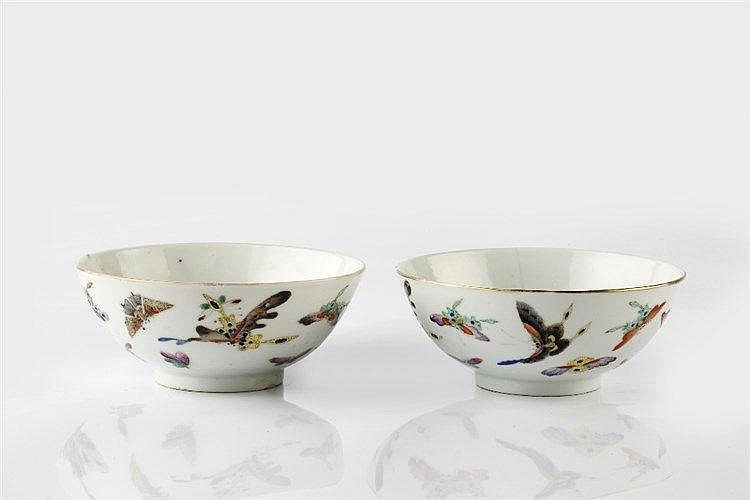 A pair of Chinese bowls Guangxu each decorated with butterflies a