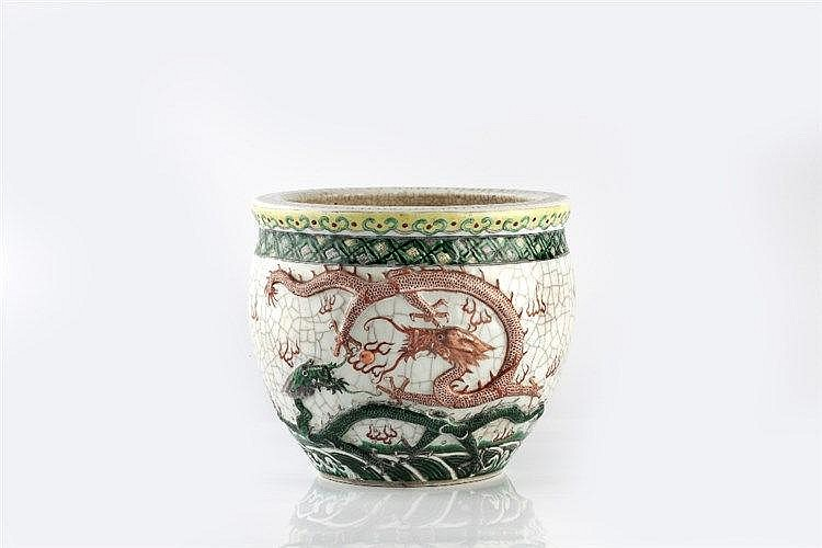 A Chinese Canton crackleware small jardiniere late 19th Century w