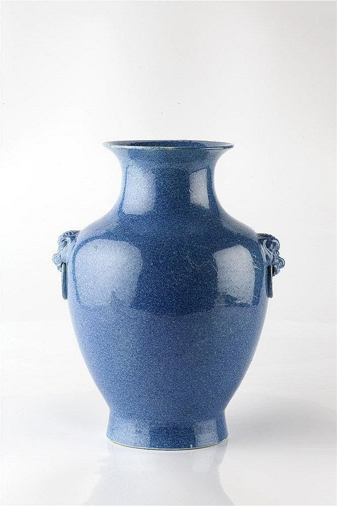 A Chinese baluster vase 19th Century with kylin mask and ring mock han