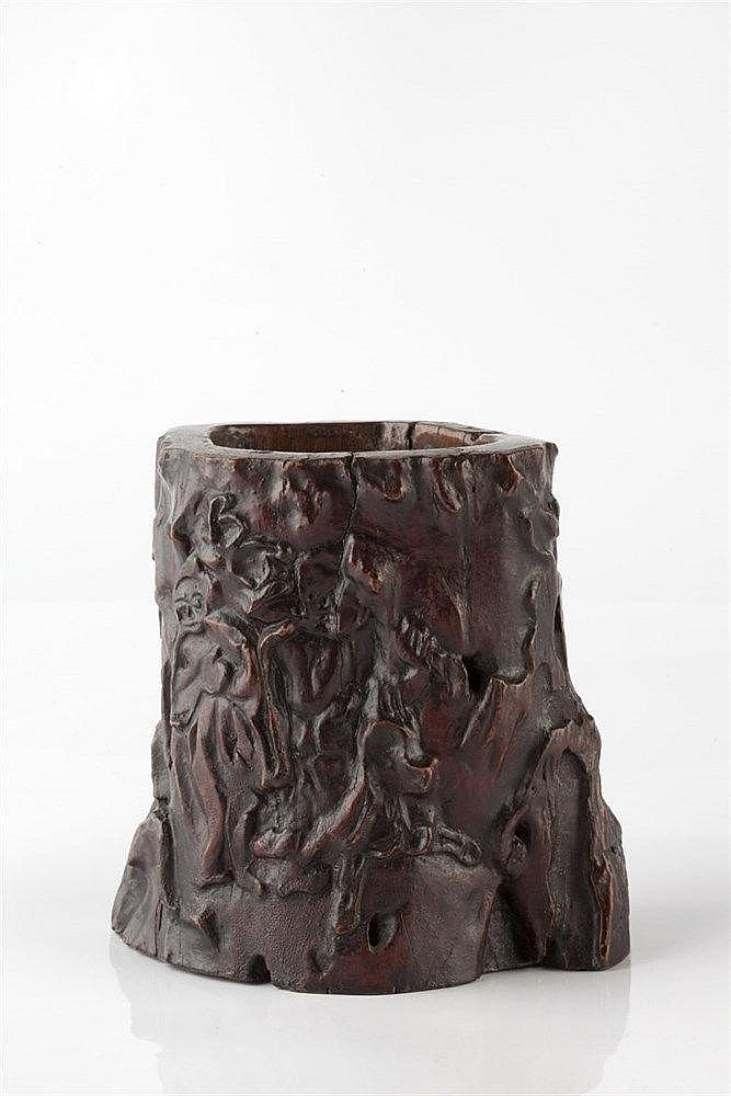 A Chinese wood brush pot (bidong) 19th Century the natural exterior ir