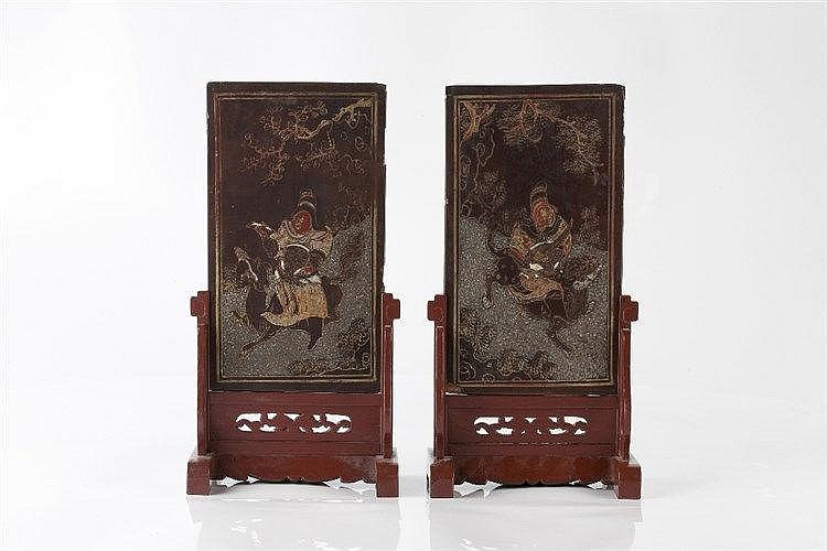 A pair of Chinese black lacquer small table screens 19th Century on re