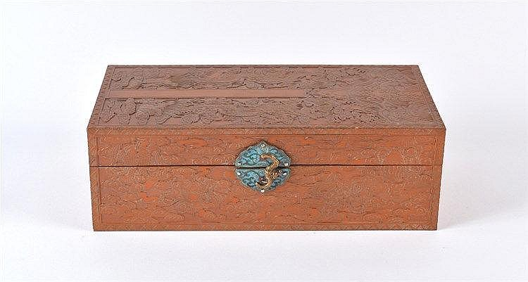 A Chinese bamboo veneered rectangular box 19th Century the lid carved