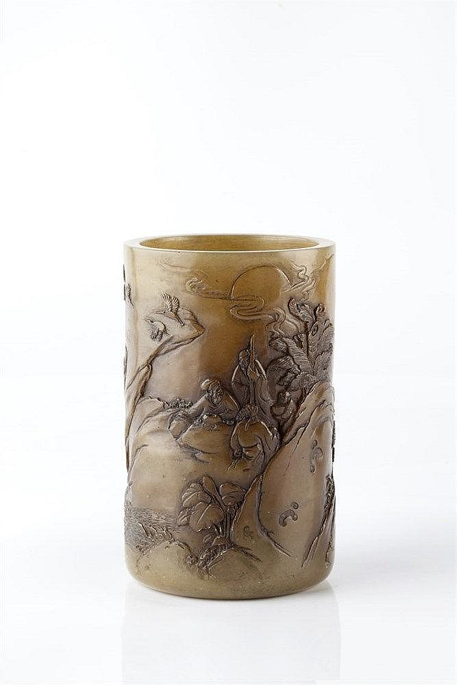 A Chinese brown translucent soapstone brush pot (bidong) late 19th Cen