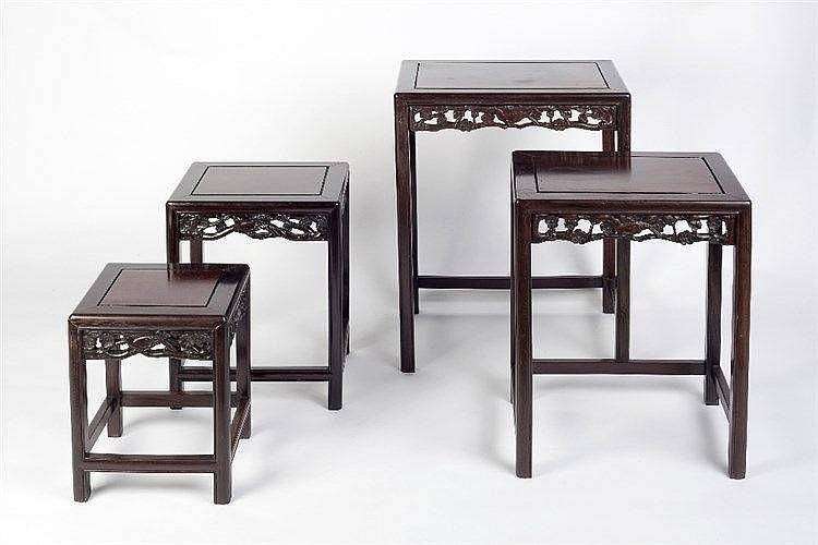A quartetto of Chinese hardwood occasional tables 20th Century each ha