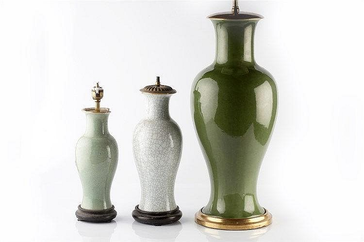 A Chinese green baluster vase 19th/20th Century converted to a lamp, 5