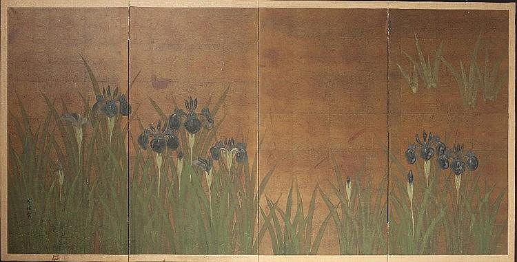 A Japanese four part screen mounted as a wall panel early 20th Century