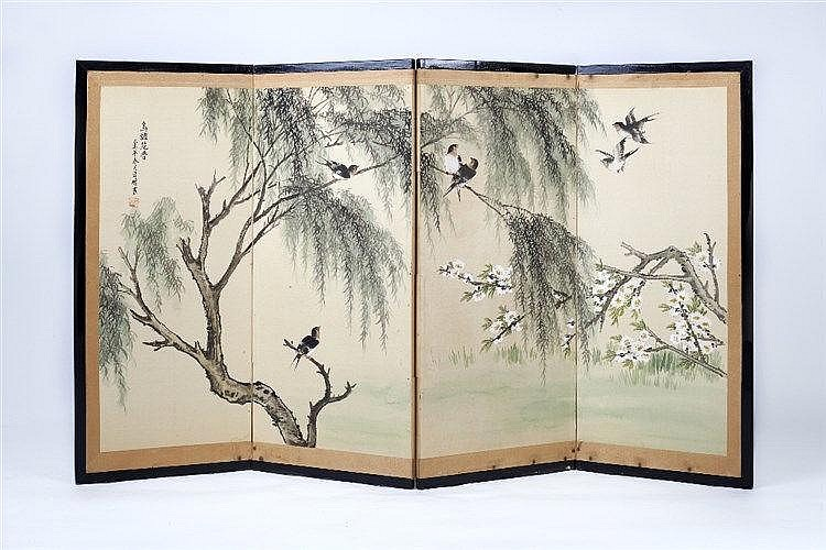 Two Japanese screens 20th Century each with silk panels painted with b