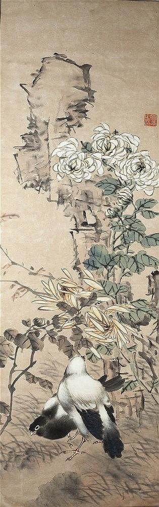 Chinese School A study on silk, rockwork birds and flowers with red se