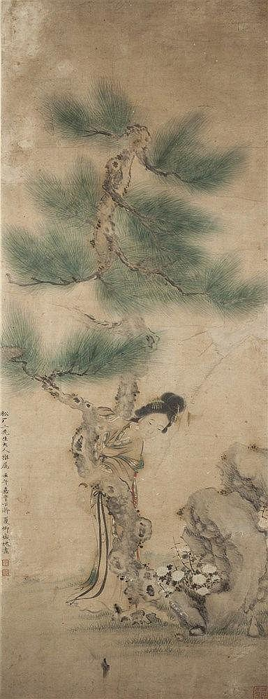 A Chinese framed scroll 19th Century Guanyin beneath a pine tree with