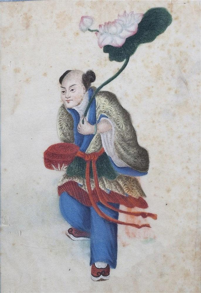 A set of four Chinese pith studies 19th Century to include two studies