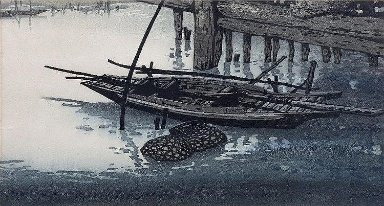Yang Rei (Chinese, b.1952) Boat by the pier, signed, titled and number