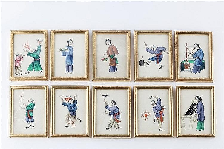 A group of Chinese Figural Pith Studies depicting various scenes of da