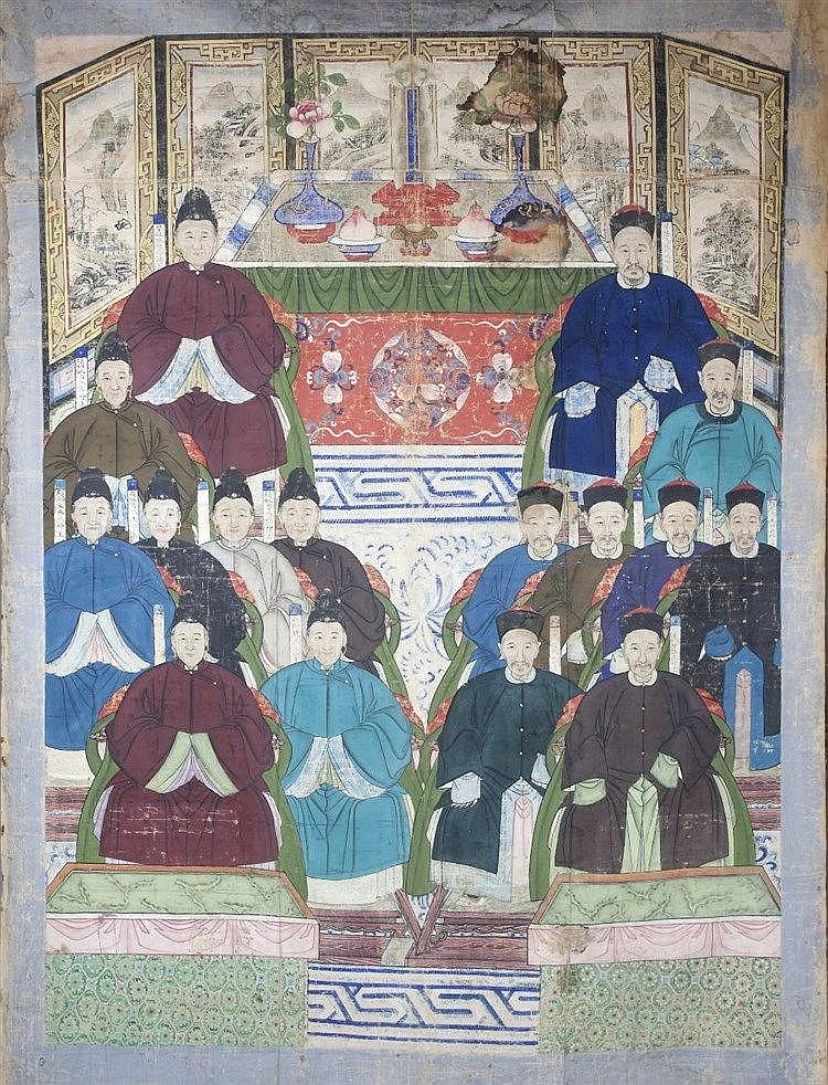 A Chinese silk family portrait  late 19th Century depicting 16 me