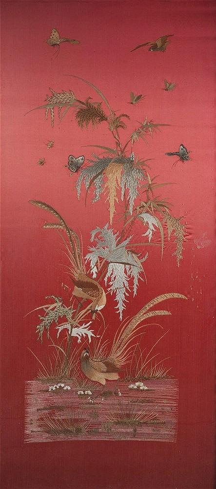 A chinese silk work picture of red ground, embroidered with birds and