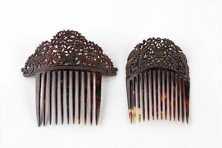 Two Chinese carved tortoiseshell hair combs 19th Century Canton, each