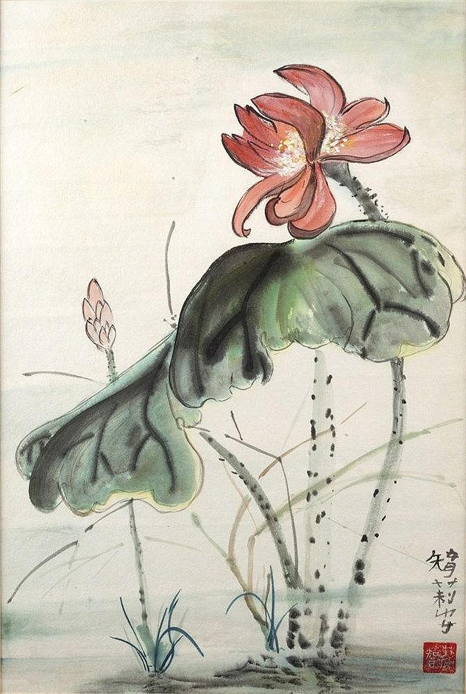 Chinese School 20th Century A wash study of a flower, signed and with