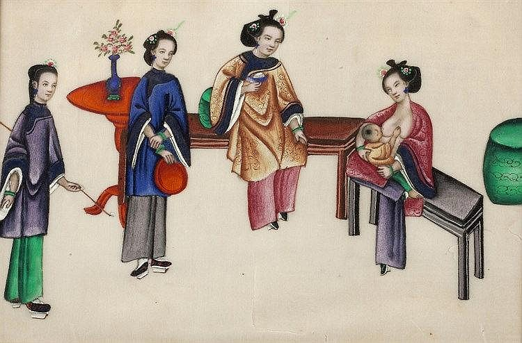 Chinese School 19th Century A group of ladies in an interior, 14cm x 2