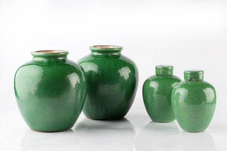A pair of Chinese globular jar shaped vases 19th Century Guangxu with