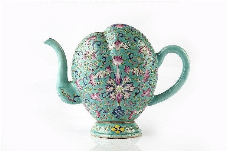 A Chinese turquoise ground Cadogan teapot 19th Century decorated in do