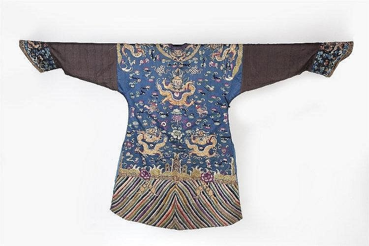 A Chinese child's silk court robe 19th Century  blue ground, depicting