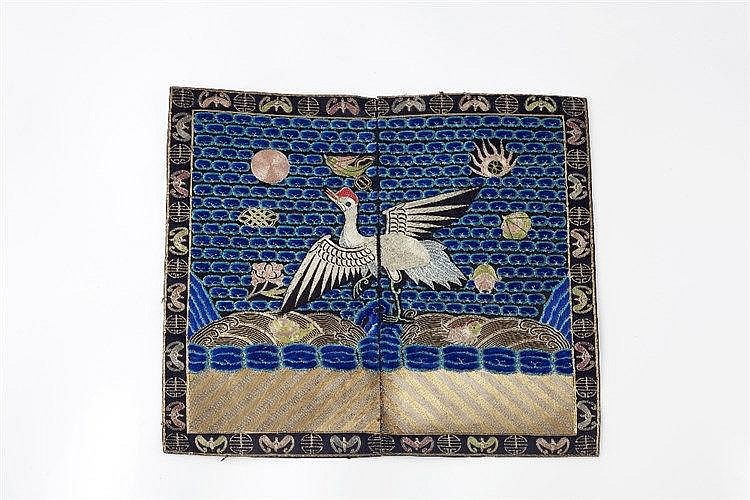A Chinese embroidered rank badge 19th Century depicting a phoenix in f