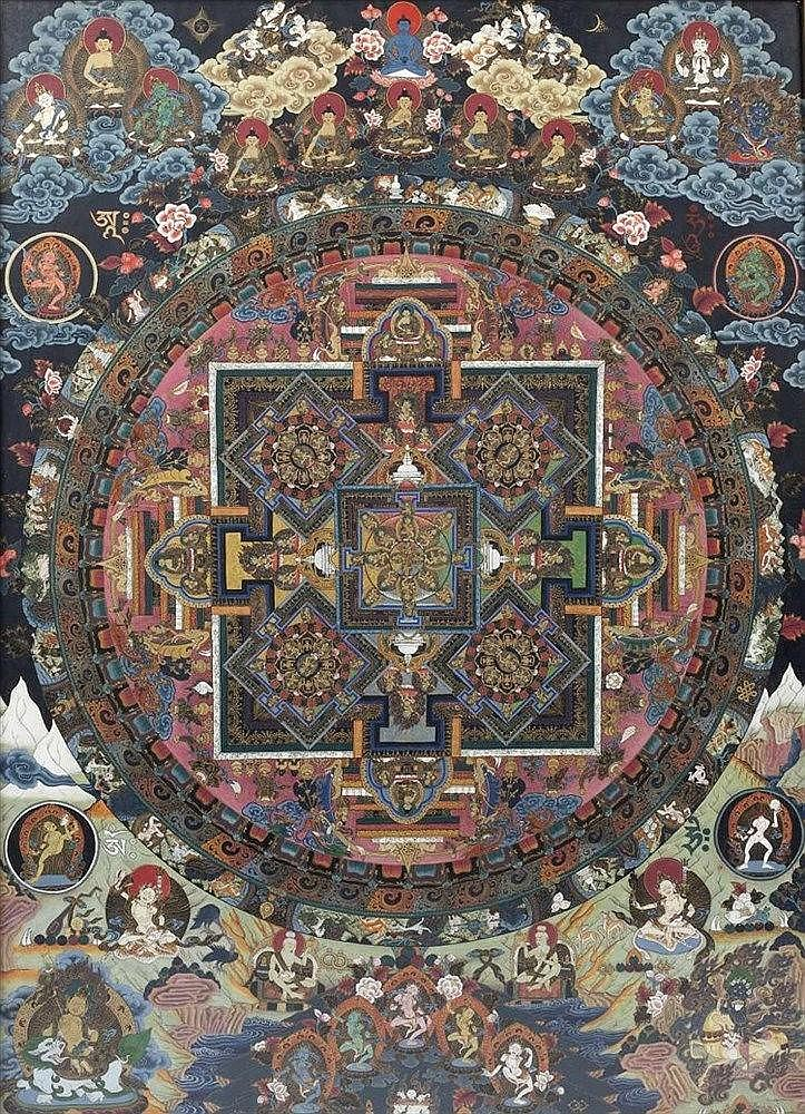 A Tibetan Thangka 20th Century depicting a wheel of life, with deities