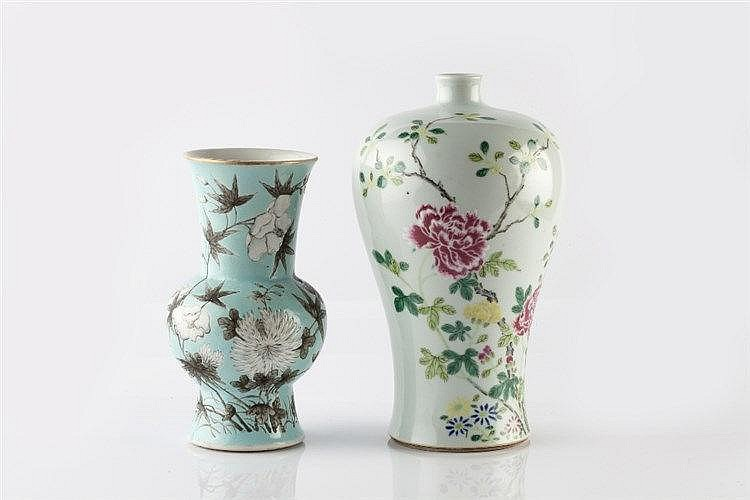 A Chinese porcelain gu form vase 19th Century decorated in Dowager Duc